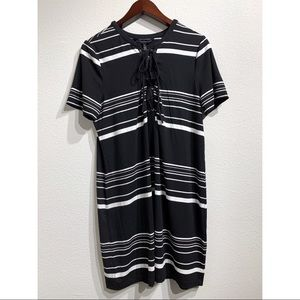 White House Black Market | Striped Lace Up Dress